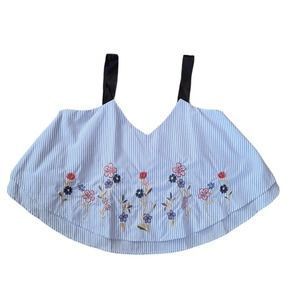 Miss Lili Double Layer Embroidered Crop Top XL